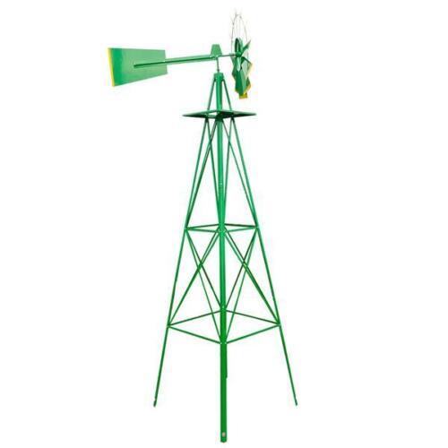 8ft Outdoor Metal Windmill Yard Garden Decoration Wind Mill Green //Red