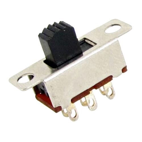 10x 2 Posición Interruptor DPDT 2P2T interruptor deslizante vertical de montaje del panel 0.5A de 6 Pines 50V DC D6X2