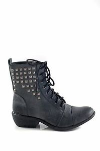 Therapy-Shoes-STOCKADE-Military-Combat-Lace-Ankle-Boot-Black-Size-5