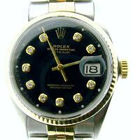 Rolex Datejust Mens 2Tone 14k Gold Stainless Steel Watch Black Diamond Dial 1601