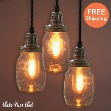 Mason Jar Pendant Fitting Glass Lamp Shade Industrial Fitting For Bulb Lampshade