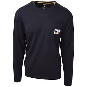 Caterpillar-Men-039-s-Black-Trademark-L-S-T-Shirt-S09