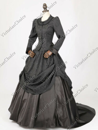 Vintage Style Wedding Dresses, Vintage Inspired Wedding Gowns    Victorian Bustle Dress Black Witch Vampire Punk Adult Halloween Costume N 131 $225.00 AT vintagedancer.com