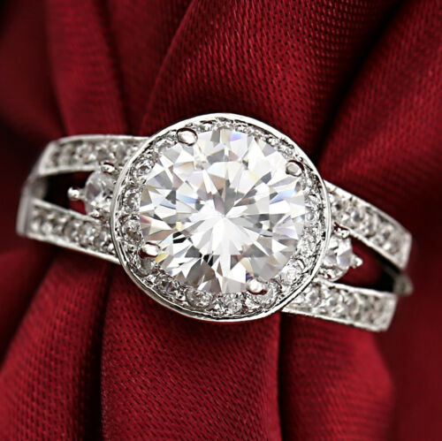18K WHITE GOLD GF ART DECO WOMENS 4CT SIMULATED DIAMOND DRESS WEDDING RING GIFT