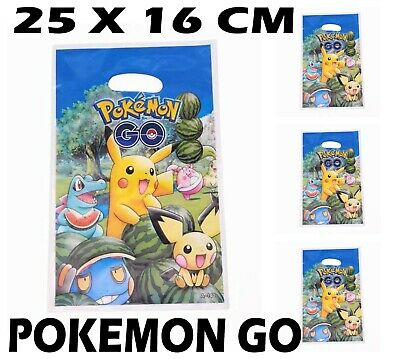 30 50 Pack Party Bags Pokemon Go Pikachu Kids Happy Birthday Party Bags Loot Bag | eBay
