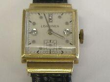 VINTAGE 14k  SOLID GOLD/ DIAMONDS  MEN'S LONGINES WRIST WATCH