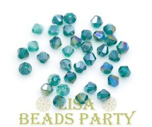 Hot-100pcs-4mm-Bicone-Faceted-Crystal-Glass-Loose-Spacer-Beads-Peacock-Green-AB