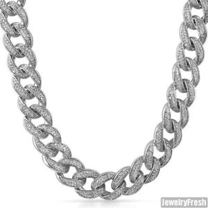 18mm Sterling Silver Jumbo Iced Out Mens Cuban Chain