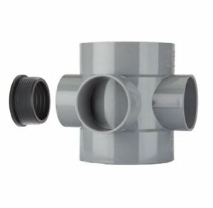 """Waste to Soil Adapter Boss Pipe 110mm to 50mm 55mm 2/"""" Black"""