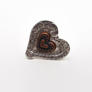 Silver-amp-Copper-Tone-Heart-Ring-Size-6-5