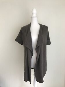 VINCE-Cardigan-Brown-Sweater-Women-s-Size-Small-Open-Front-Short-Sleeve-Long