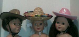 """18/""""Doll Clothes-Hats lot of 3-Cowboy /& Sombrero"""