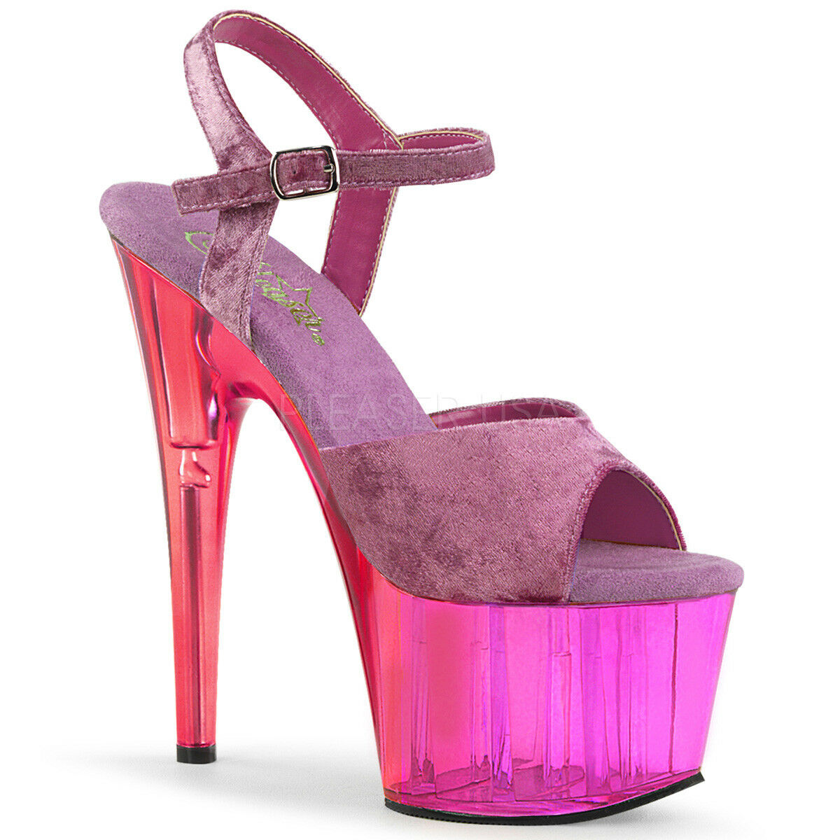 PLEASER Sexy 7  Heel Purple Dual Tinted Platform Velvet Ankle Strap Women shoes