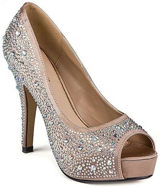 Lady Couture Wouomo Lauren Open Toe Slip On Pump Heels Champagne