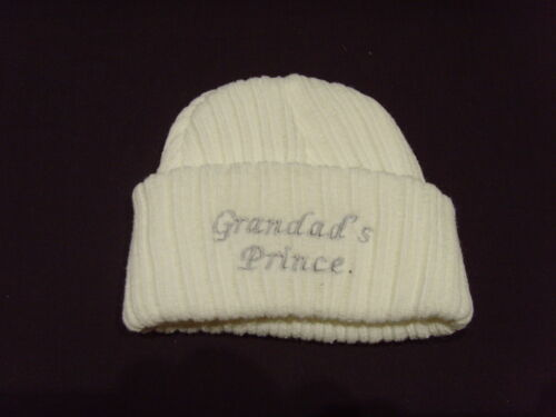 Baby Knitted Wool Embroidered Personalised Hat With Saying Grandad/'s Prince