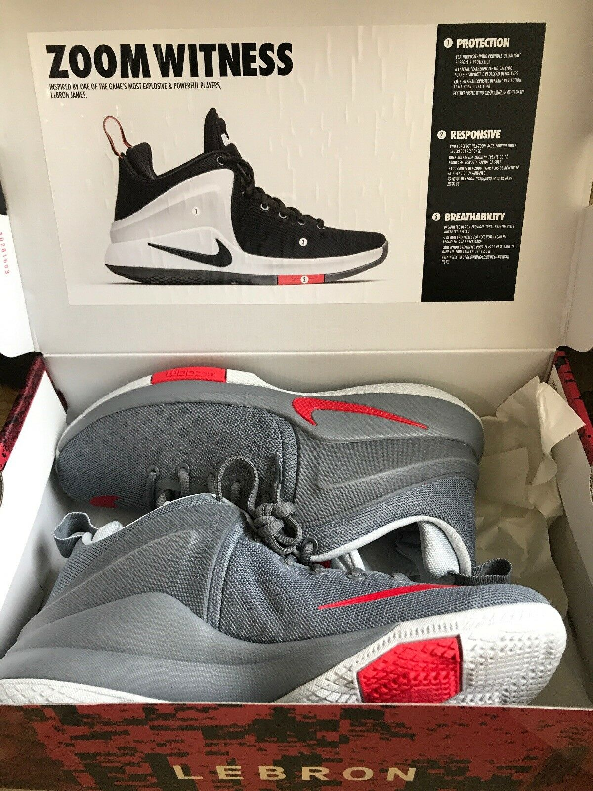 Nike Zoom Zoom Zoom Witness LeBron James Cool Grey Mens Basketball shoes 852439 005 Sz 8 413f0a