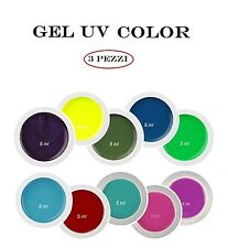 Kit Set 3 Gel UV Color Mix NDED Ricostruzione Unghie Nail Rosa Blu Viola Giallo