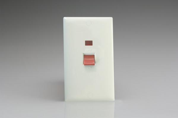 Varilight 45 Amp Verticale Fornello Interruttore Neon Bianco Polare Stampato Conici-xo45nw