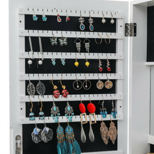 Details about  /Full Mirror Jewelry Cabinet Free Standing Armoire Storage Organizer Lockable
