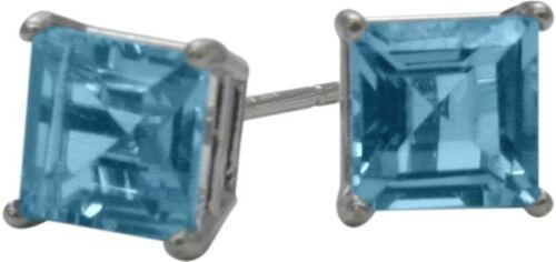 1.55Ct Genuine 5mm Square Blue Topaz 14K WG Stud Earrings