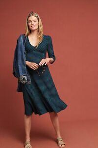 NWT-Anthropologie-Maeve-Blue-Green-Flores-Striped-Dress-XL