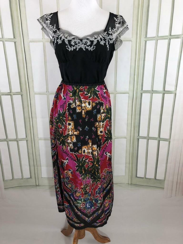 Ann Taylor LOFT Embroidered Top w Carole Little Fiesta Motif Midi Skirt Sz Small