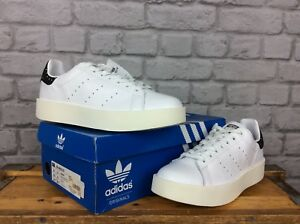 ADIDAS-UK-8-EU-42-LADIES-STAN-SMITH-WHITE-CORE-BLACK-DOT-BOLD-LEATHER-TRAINERS