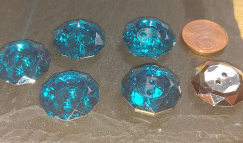 Straß Knopf Knöpfe 1,8cm 18mm 5 Stück Eyecatcher Türkis Blau