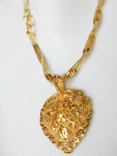 24k Thai Gold Plated Traditional Indian Chain Pendant Necklace Women Jewelry Set