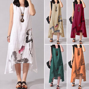 cdab404a4e7 Image is loading Women-Summer-Sleeveless-Long-Midi-Kaftan-Sundress-Beach-