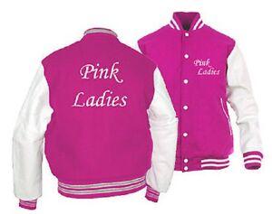 NEW WOMENS GREASE LIGHTNING PINK LADIES NOVELTY VARSITY JACKET ...