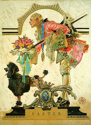1930 J.C ART PRINT POODLE 16x11 Beautiful Easter antique Dog Leyendecker