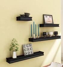 Beautiful Wooden Black Rectangular Wooden Wall Shelf set of 4