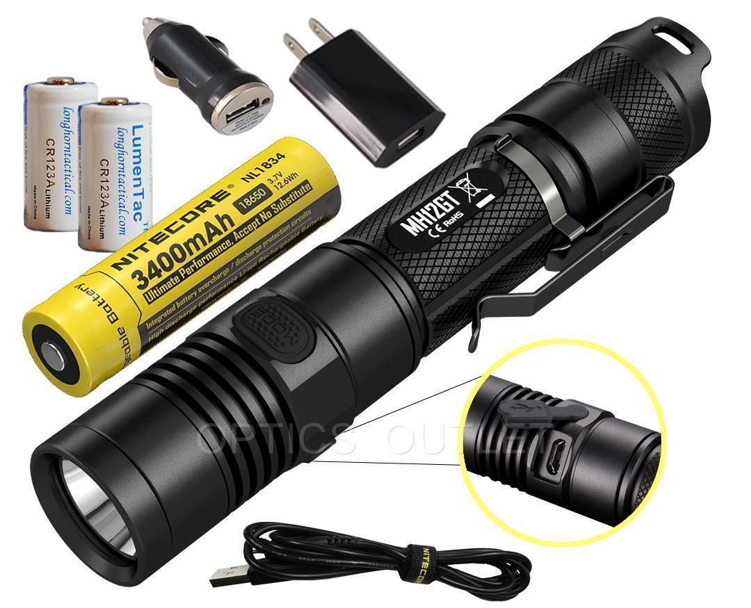NITECORE MH12GT 1000 Luuomini LED Flashlight  lungo Throw MH12 Upgrade  USB Bundle