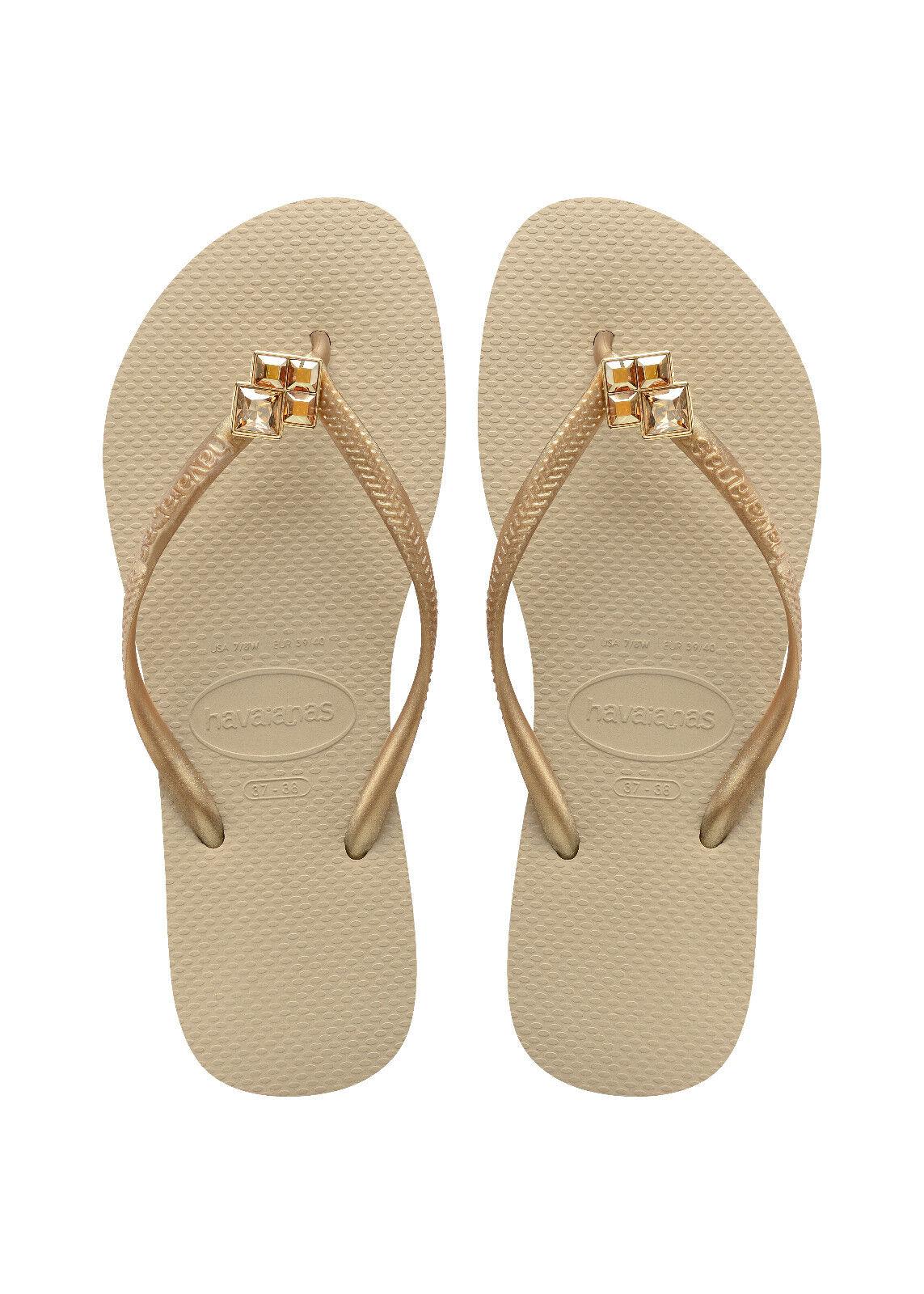 Havaianas Bride D'Orteil Flops prisonniers slim Epic beige or sable gris NEUF