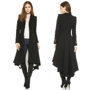 Vintage Womens Steampunk Swallow Tail Goth Long Trench Coat Jacket ... 63249899bd2