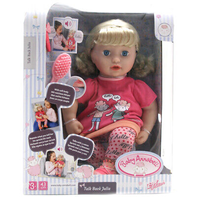 Baby Annabell Talk Back Julia 43cm Doll Ebay