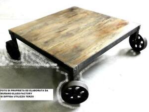 Tavolo Industriale Quadrato : Tavolino da salotto con ruote legno ferro industriale tavolo caffè