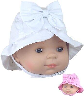 Cotton summer babies sun GIRLS HAT hats baby babies pink white check 6-12 12-18m