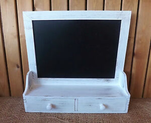 Shabby-Chic-Wooden-White-Memo-Chalk-Board-Blackboard-Wall-Unit-2-Drawers-amp-Shelf