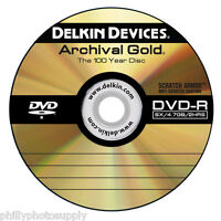 "Delkin Archival Gold Dvd-r ""100 Year Disc"" Scratch Armor Surface - Binder Of 10"