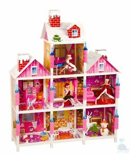 My Little Princess' Villa Dolls House With Furniture & 3 Barbie Style Xmas Gift