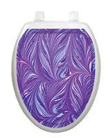 Toilet Tattoos Toilet Seat Lid Decor Purple Plumes Bathroom Decor Elegant Vinyl