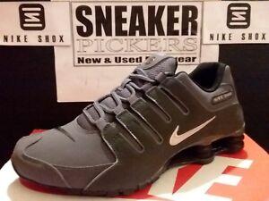 official photos 1236d d572c Image is loading Nike-Shox-NZ-Dark-Grey-Metallic-Iron-Ore-