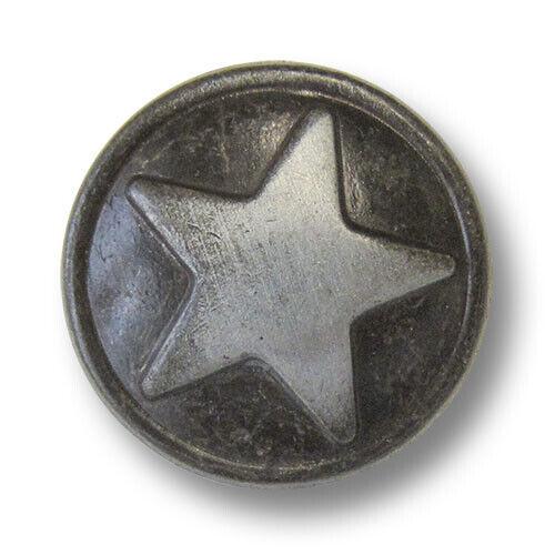 2459ei 5 freche eisenfarbene Metallknöpfe mit Stern in Vintage-Optik