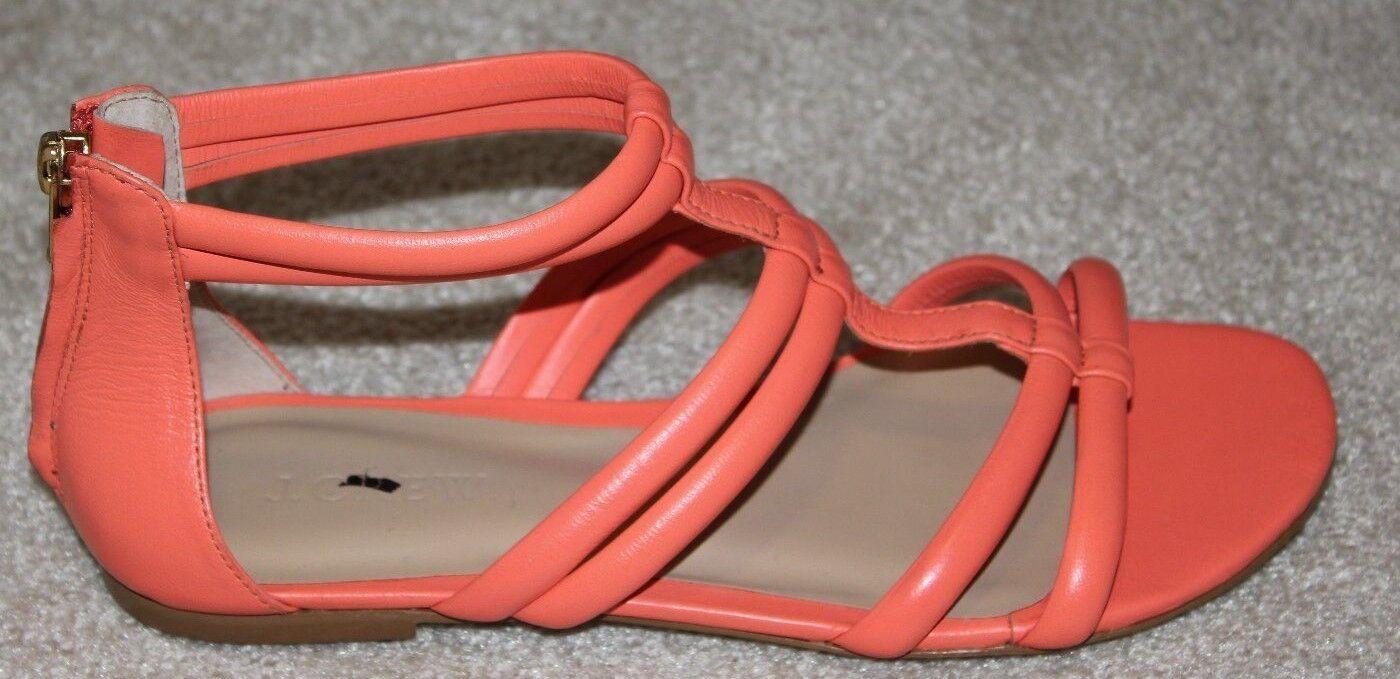 Nuevo Back Zip Zip Zip J. Crew Sandalias de tiras de cuero plano melocotón talla 7 A4968  110  marca famosa