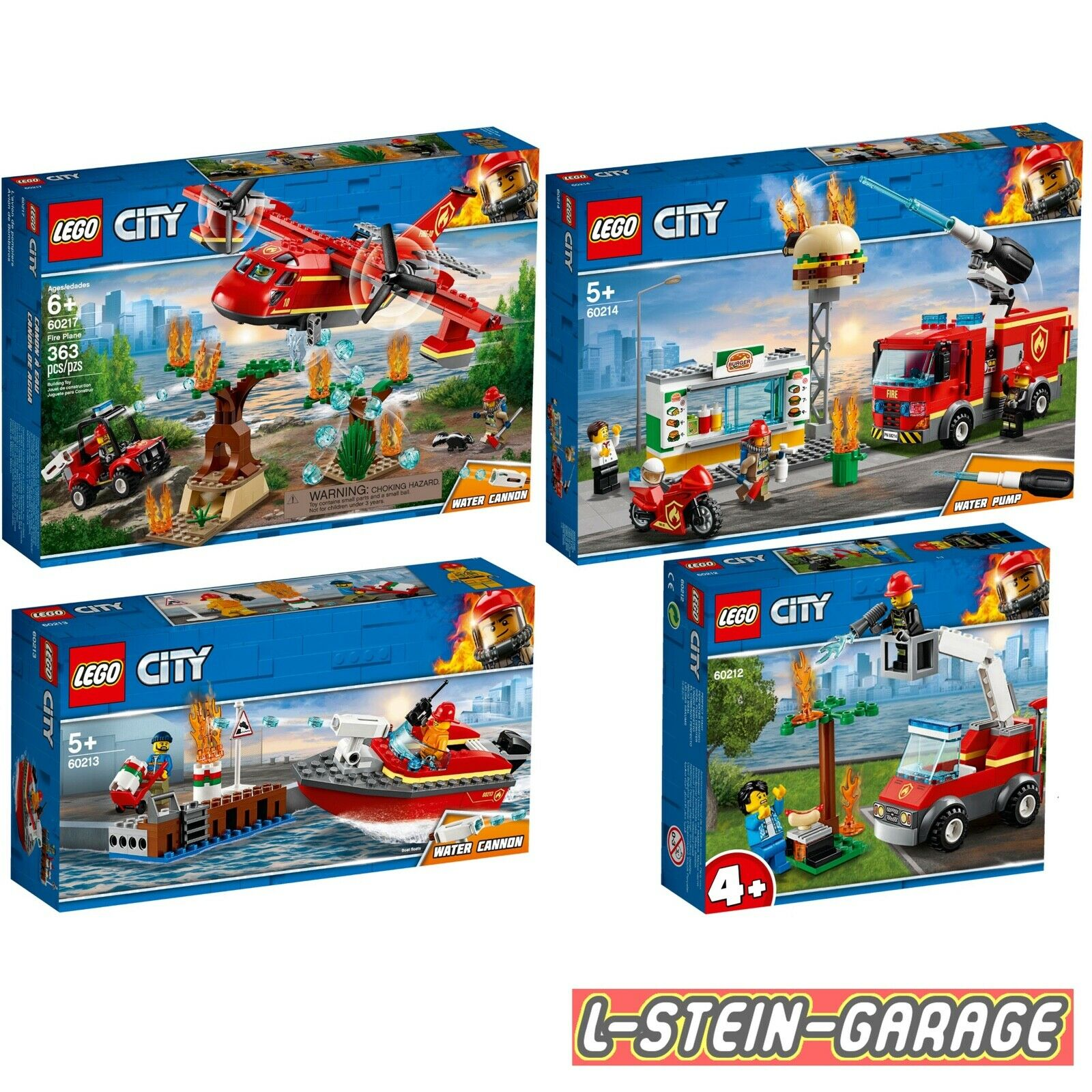 LEGO® City Feuerwehr 4 Sets 60212+ 60213+ 60214+ 60217  NEU & OVP