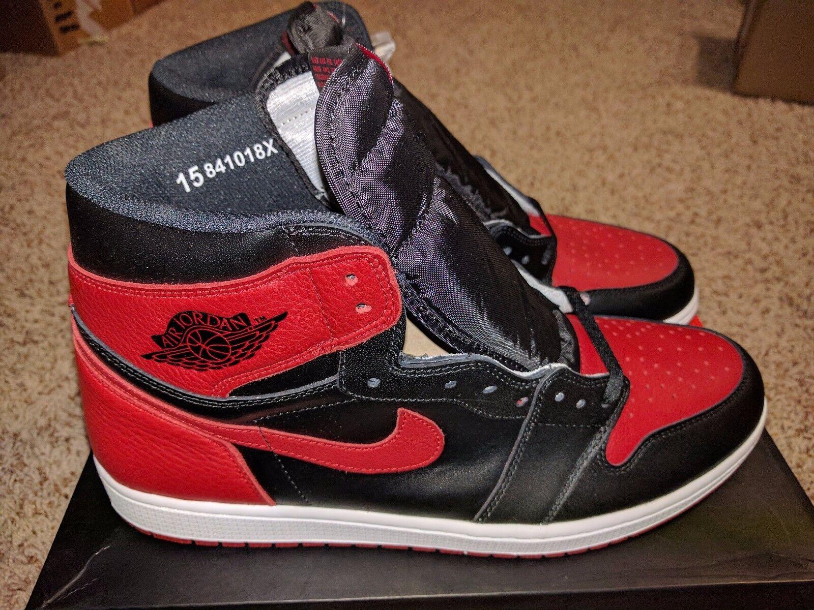Nike Air Jordan 1 High Bred Black Varsity Red Retro 555088-001 NEW 2016 Size 15