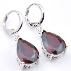 Gorgeous-Woman-Gift-Teardrop-Red-Garnet-Gemstone-Silver-Dangle-Hook-Earrings