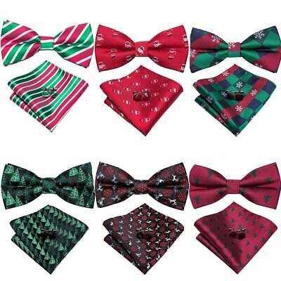 Men Bow Tie Black Bowties Hanky Set Pre-tied Wedding Silk Blend 743